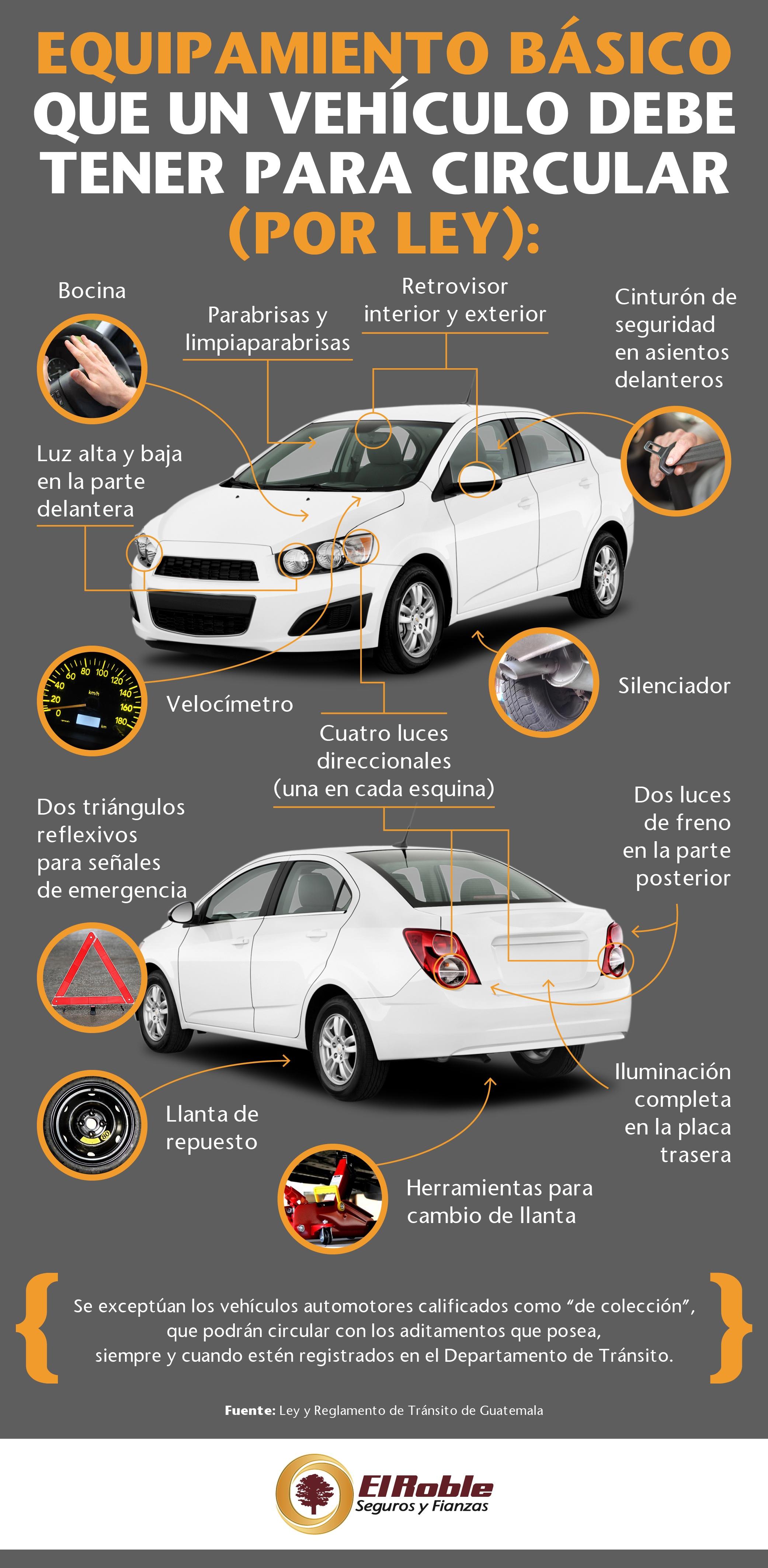 Equipamiento básico que un vehículo debe tener para circular en Guatemala